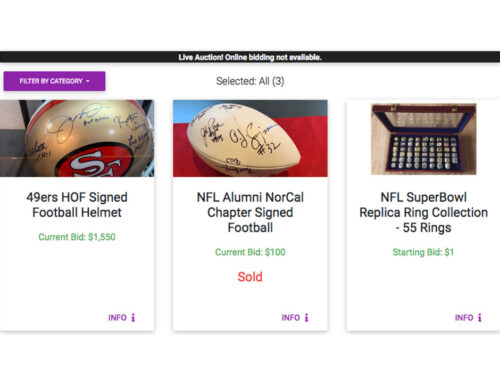 Sports Memorabilia Silent Auctions, Live Auction Previews, and Pledge Donor Options Open Ahead of NFL Alumni Northern California Chapter 37th Annual Charity Golf Classic
