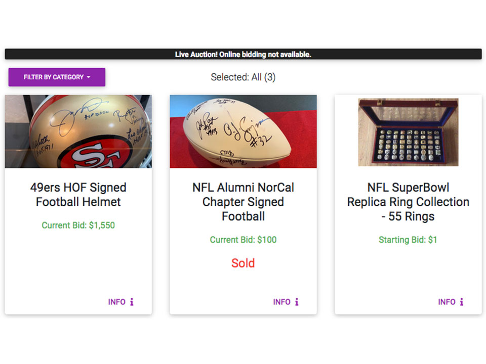Live Auction Preview | NFL Alumni Northern California Chapter